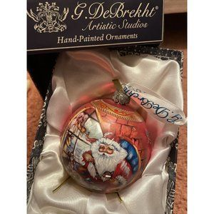 G. DeBrekht Hand-Painted Glass Ball Ornament 5""